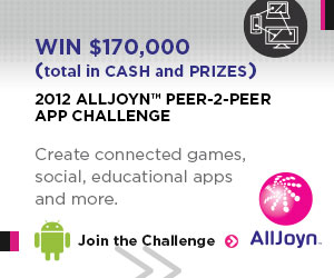Compete for $170,000 in prizes, for your Android apps using AllJoyn, in the AllJoyn Peer-2-Peer App Challenge.