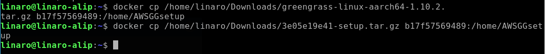 Copy Greengrass Software and resources to ubuntu container