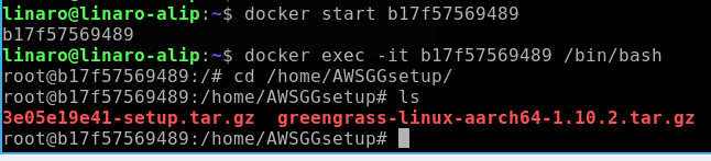 Greengrass and resources copied to ubuntu container
