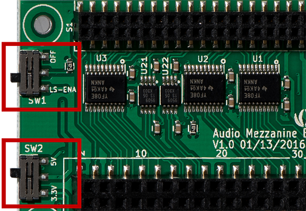 Settings for Switch 1 (ON) and Switch 2 (5V) on Audio Mezzanine Board