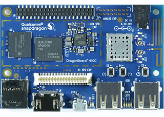 DragonBoard 410c showing Qualcomm application processor, WiFi and GPS antennas, and high and low speed expansion connectors