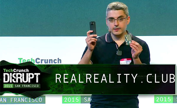Asier Arranz on stage presenting product at TechCrunch Hackathon in San Francisco.