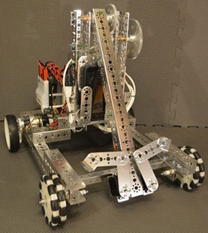 Robot with wheels built during FIRST challenge
