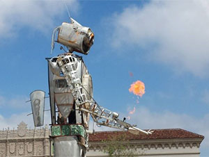 30-foot tall robot shooting flames from it's arm at maker faire