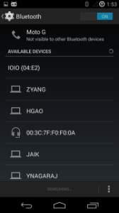 Screenshot showing IOIO board appearing as available device in bluetooth menu