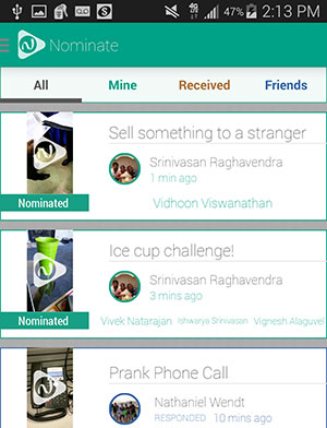 Screenshot of Nominate App