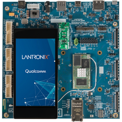 QCS610 Development Kit, including system-on-chip, main boards, module/lens, Wi-Fi/Bluetooth antenna and kit enclosure