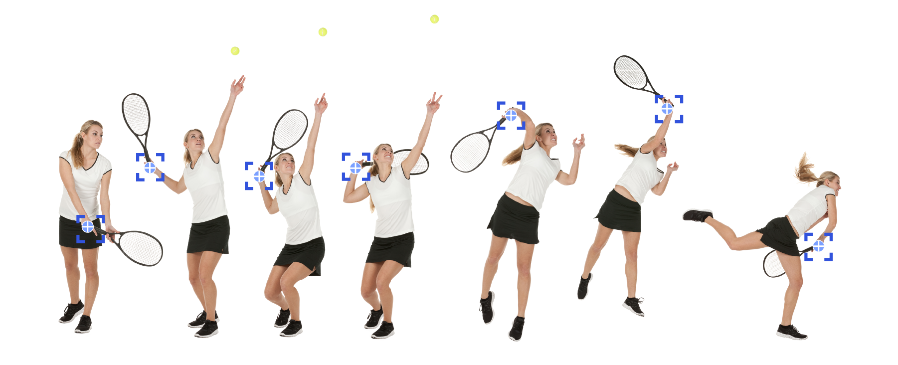 Tracking the motion of a woman tennis player serving via seven stop-motion images