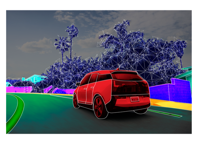 Applying filters to an image of a car driving along a road with color and tracking images