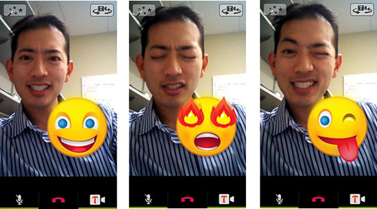 The Tango Surprises feature in Tango's video calling app uses the camera and facial processing APIs from the Snapdragon SDK to create emoticons that coorespond with a caller's facial expressions.