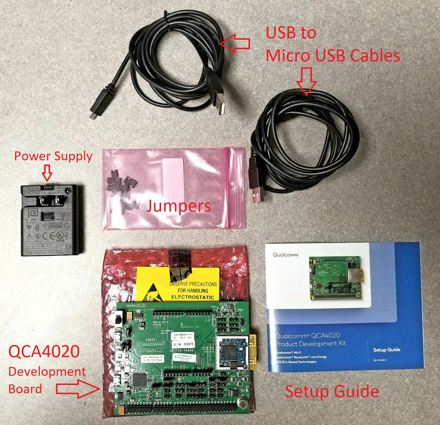 Qca4020 Ble Standalone Mode Qualcomm Developer Network Port Usb Hub Wiring Diagram Isp Solving The Only Chicken Contents Of Qca 4020 Development Kit As Seen Above Include Board