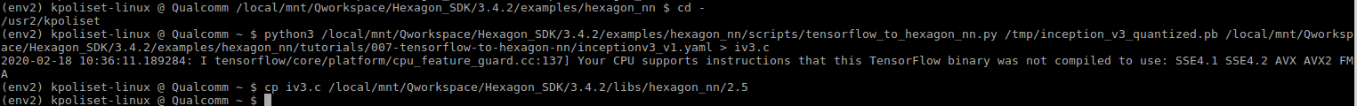 Generate Hexagon compatible Inception V3 graph and copy to Hexagon libs location