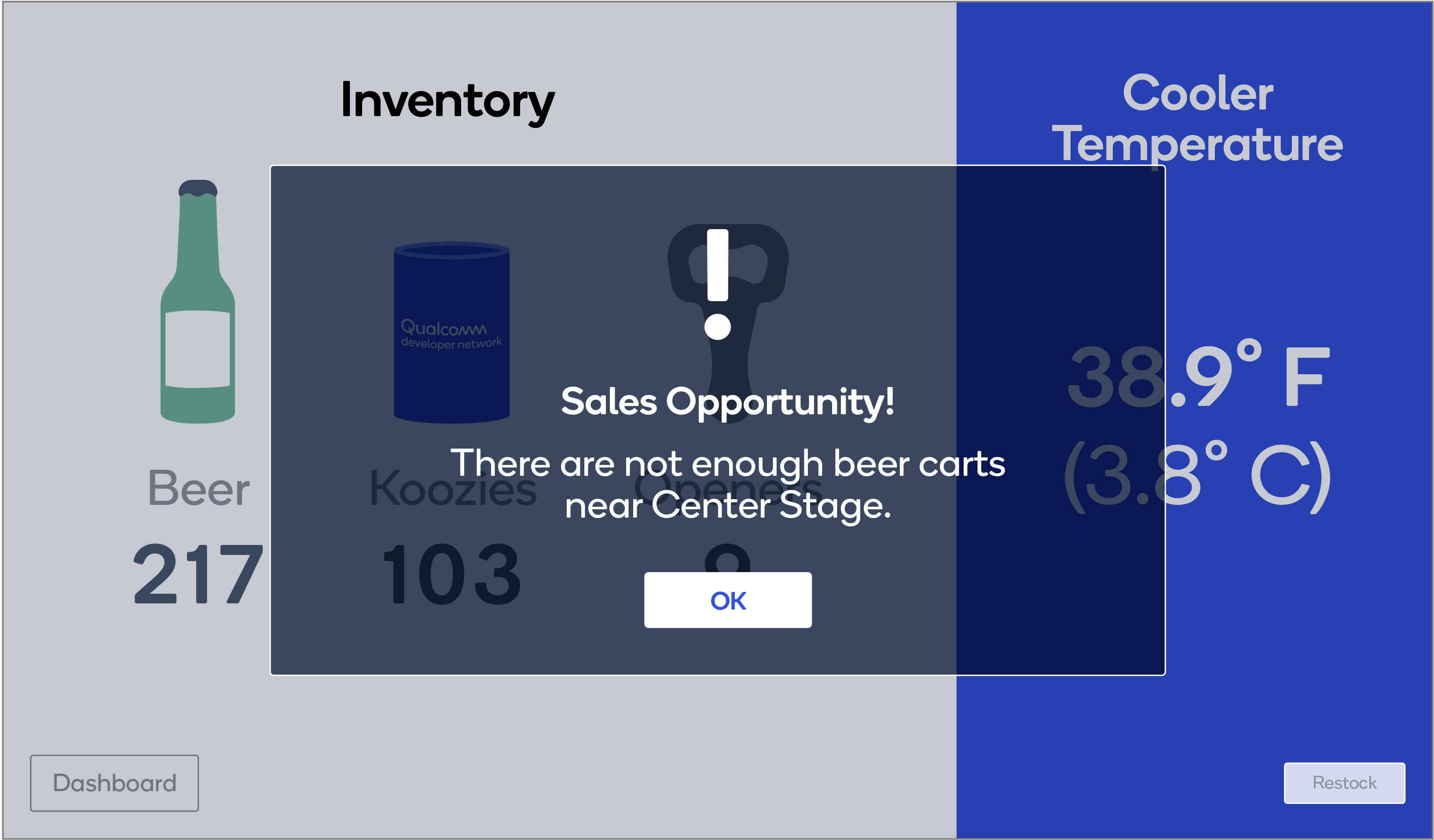 Alert Screen for low inventory.