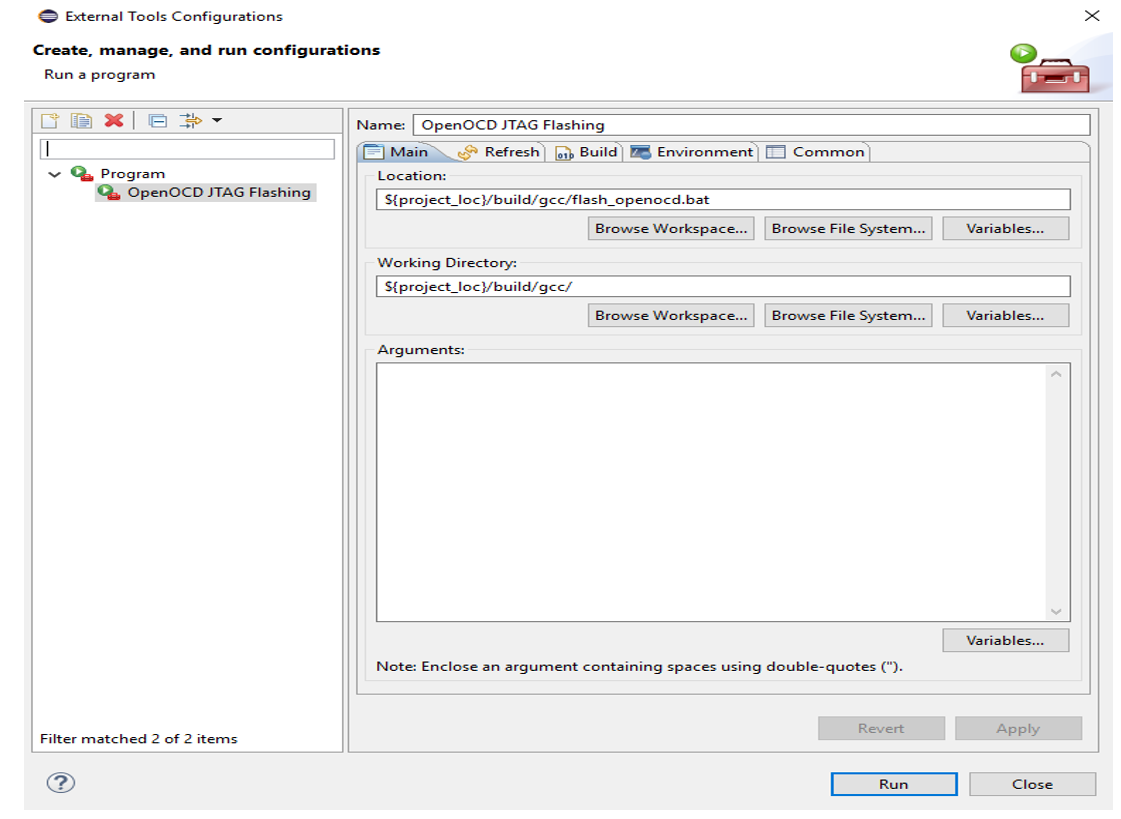 Run Configuration window in the Eclipse IDE