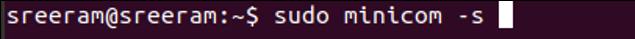 Command to open minicom