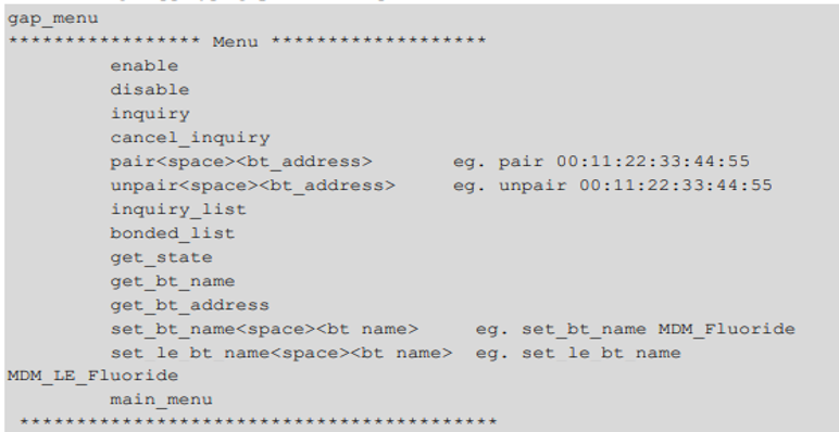 Expected output of gap_menu