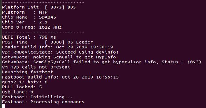 Enter fastboot mode logs
