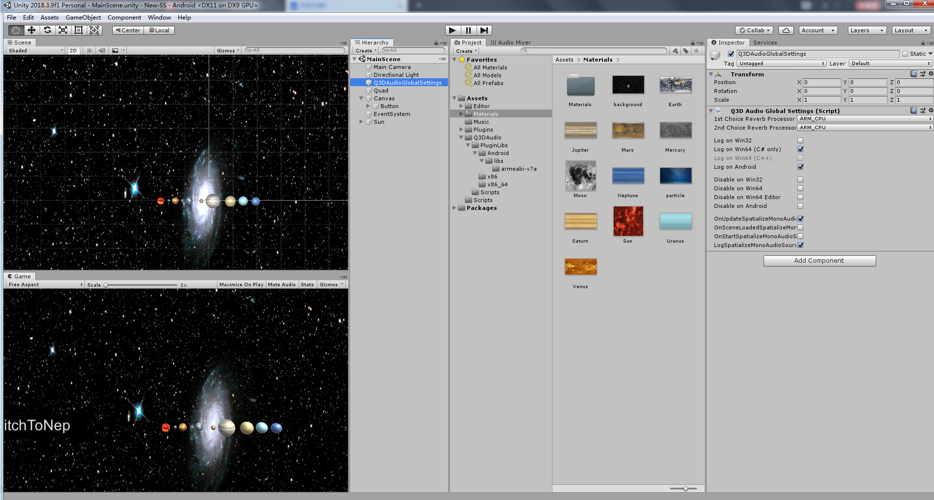 MainScene on the Unity, put main camera above the solar system