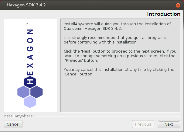Hexagon SDK Installer window