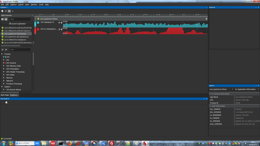 GPU and CPU utilizations as seen in the Snapdragon Profiler tool